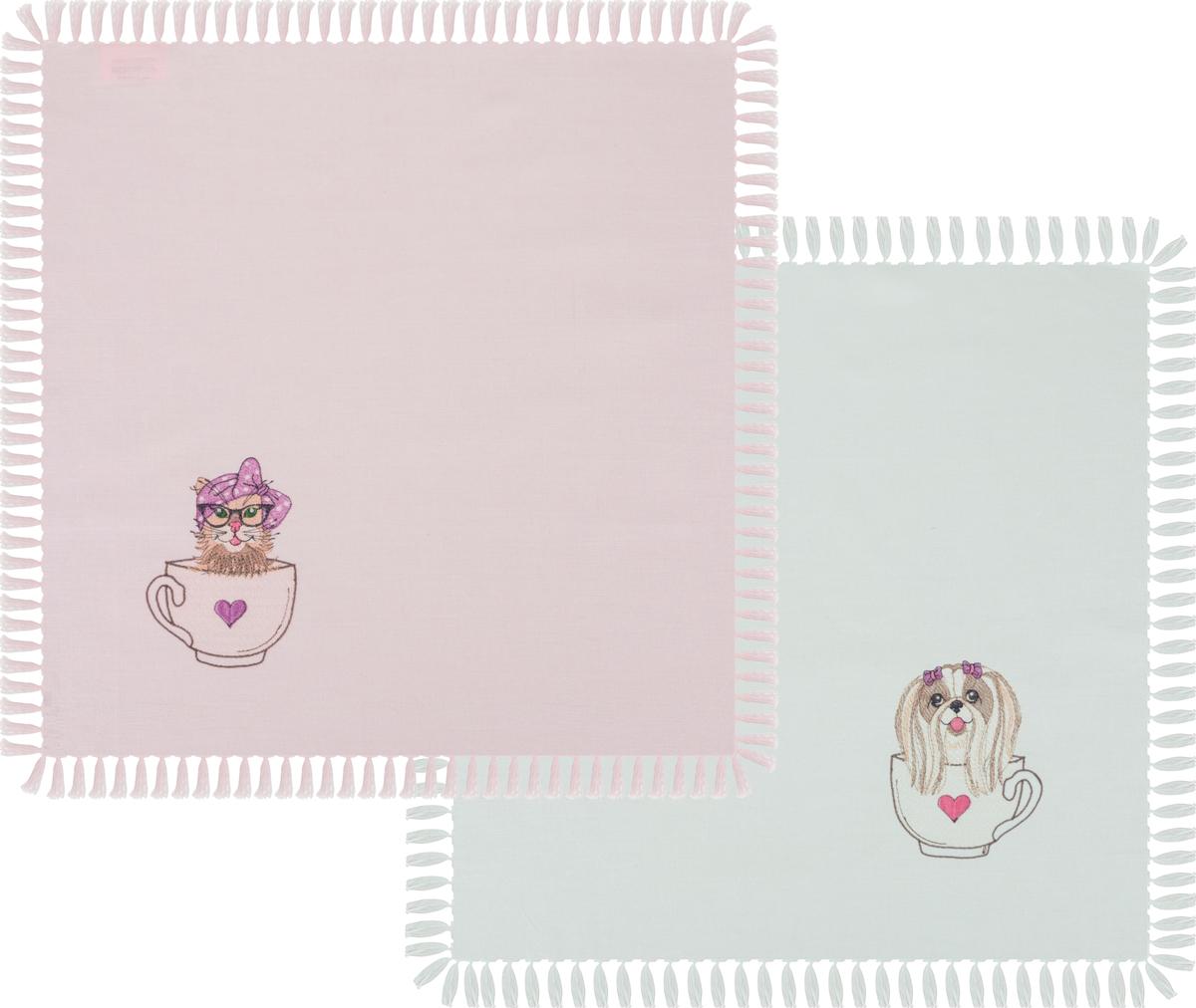 Набор салфеток 850-844-81 из 2-х шт милашки в чашках 40х40 см, св.зел+розовый