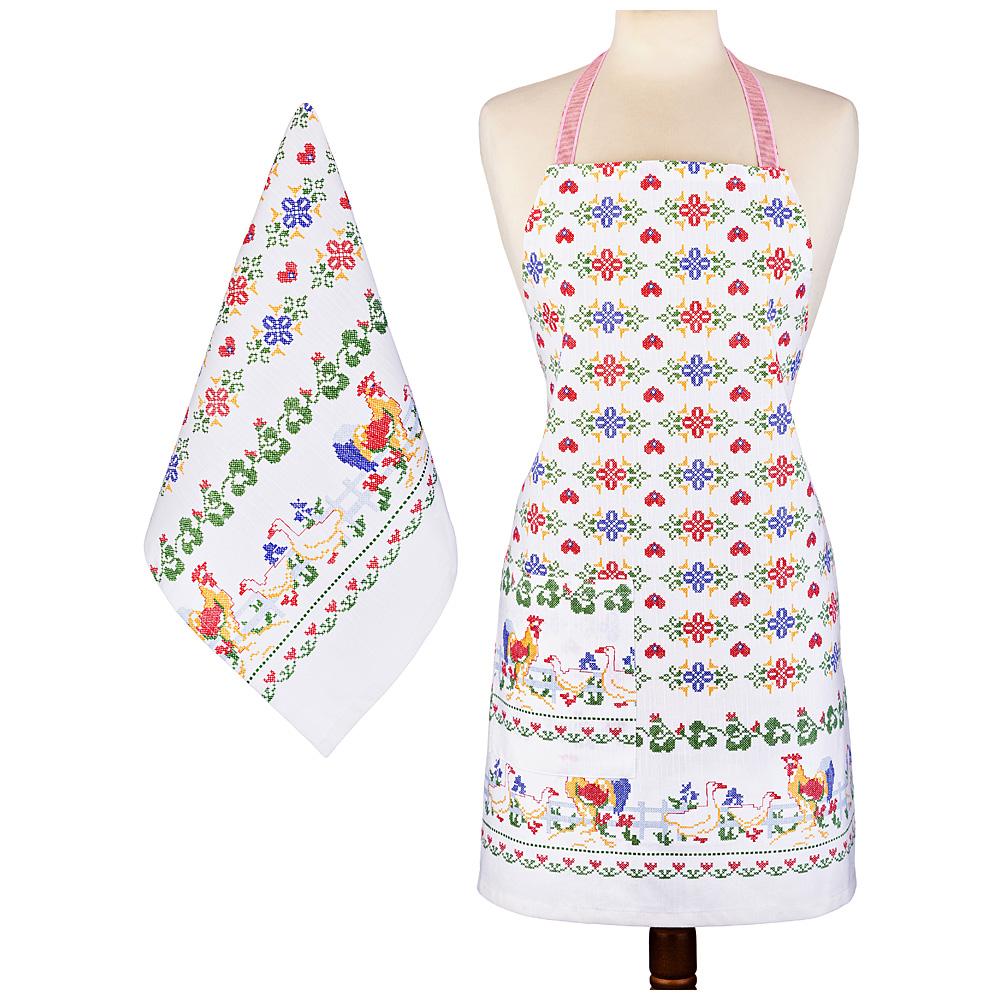 Фартук и полотенце 850-852-7 40*65 см народные мотивы, белый