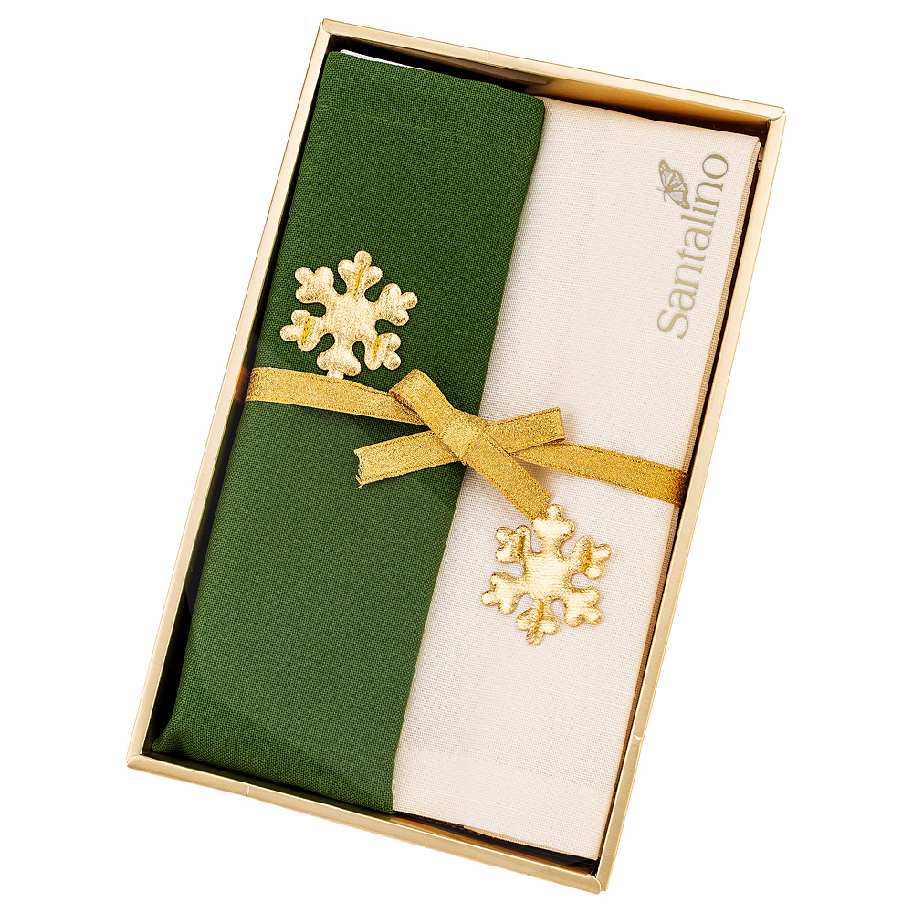 Набор салфеток 850-885-82 из 2 шт праздничный, 40х40 см, шампань+зелёный