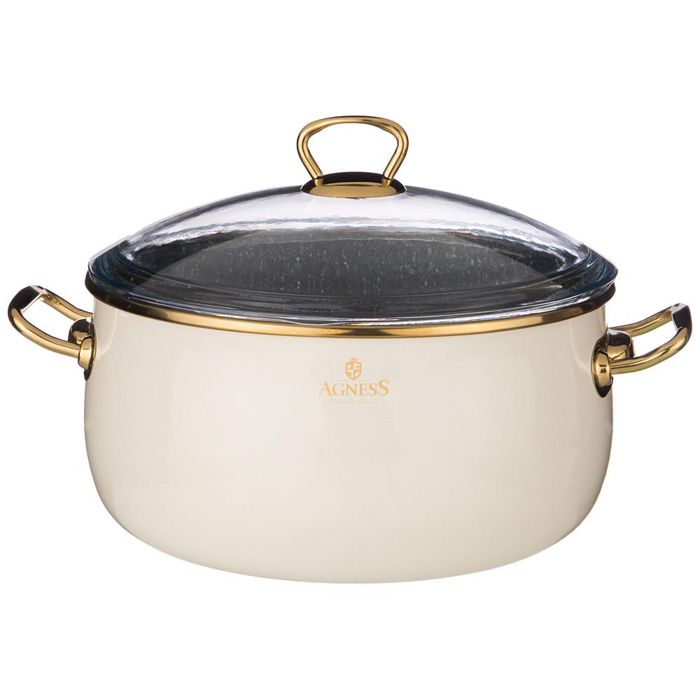 Кастрюля эмалированная с крышкой 950-373 agness 24 см