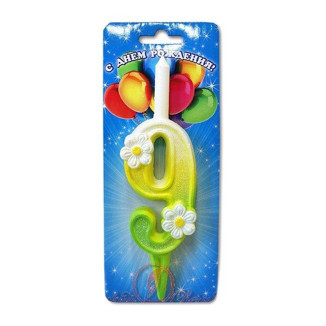 Свеча в торт 3070 Цифра 9 с ромашками, 12 см.