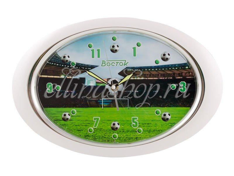 P-121047 Футбол настенные часы кварц. белый Восток (42380)