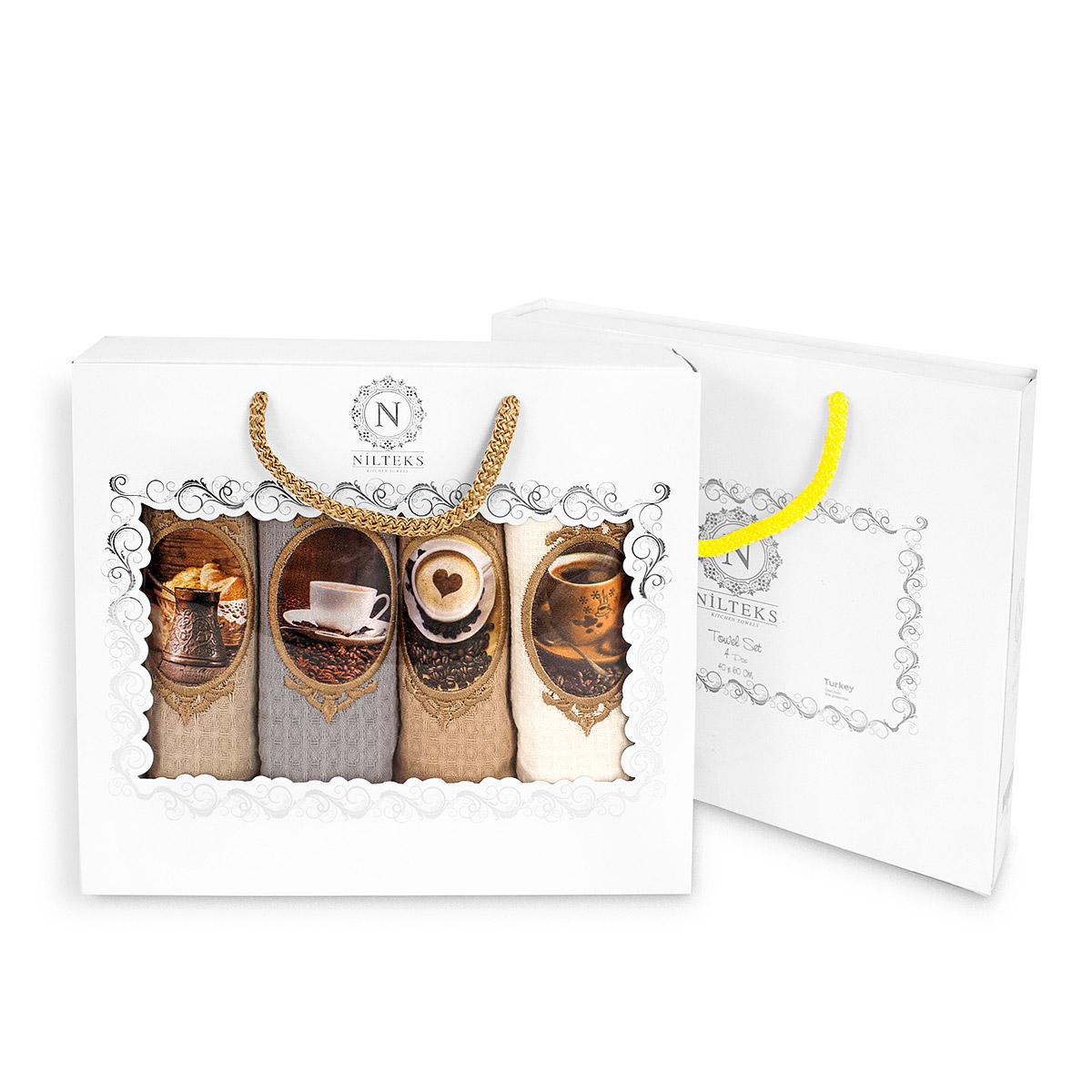 Комплект вафельных полотенец (40x60 4шт) 510 Кофе Nilteks