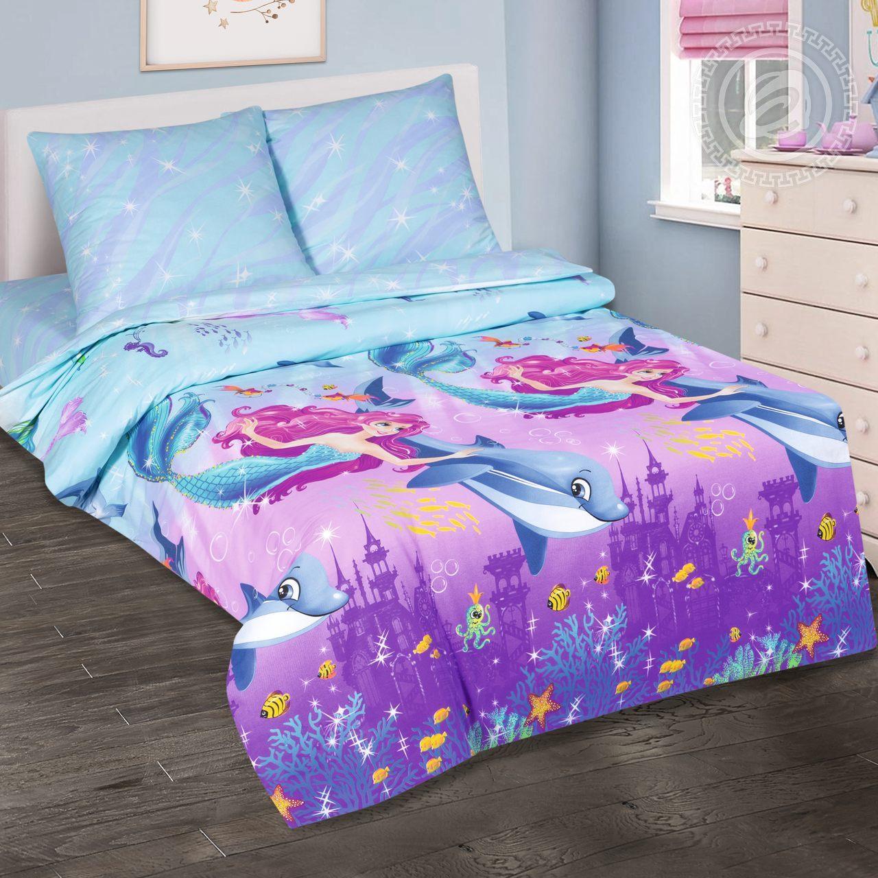 Детское постельное белье из поплина Дельфин и русалка Артпостель