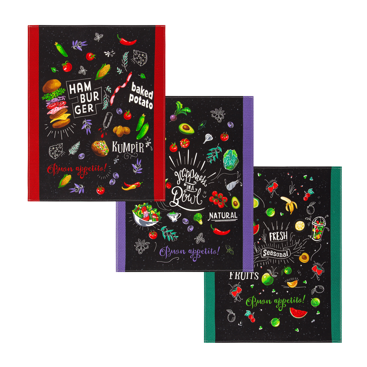 Комплект вафельных полотенец 45x60 (3 шт) Кулинарное шоу Артпостель