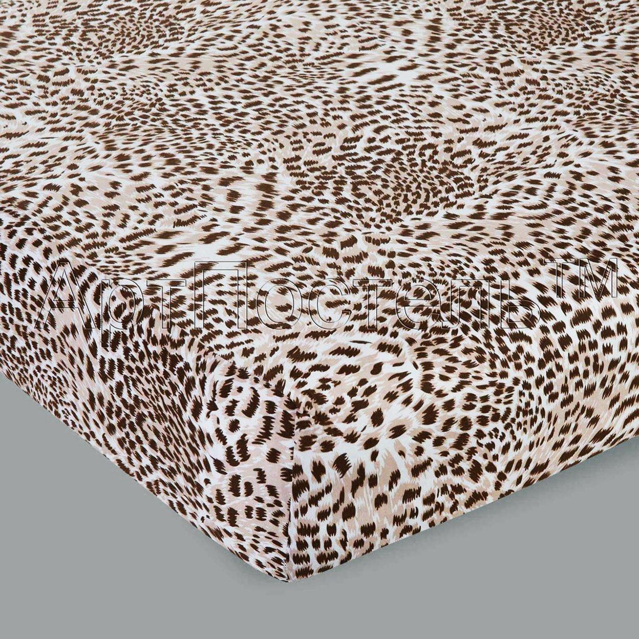 Леопард трикотажная простыня на резинке и наволочки