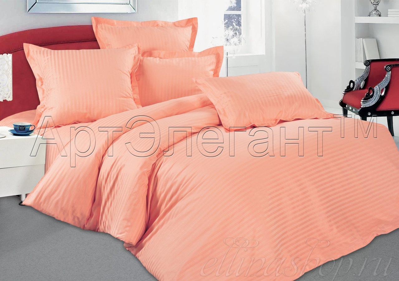 Страйп-сатин персик постельное белье Артпостель