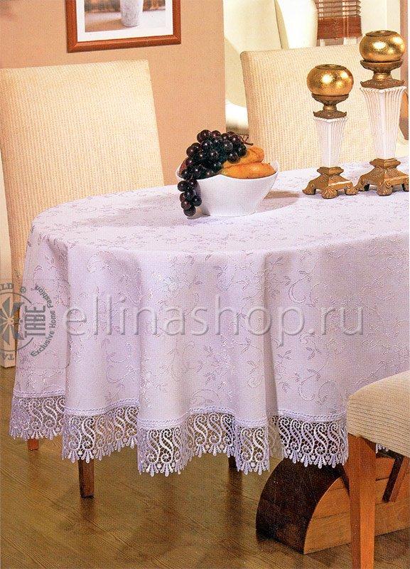 Гипюр Овальная скатерть с вышивкой