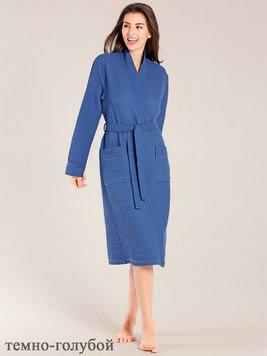 d30aaadca511 Женский халат длинный, т.голубой вафельный 000614-613 Taubert рис. 1