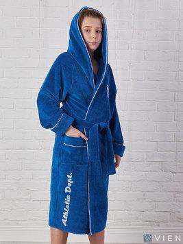 Подростковый халат с капюшоном 1064 Athletic dept темно-голубой Five Wien