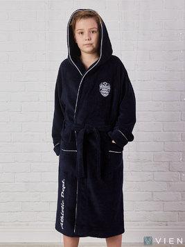 Подростковый халат с капюшоном 1064 Athletic dept темно-синий Five Wien