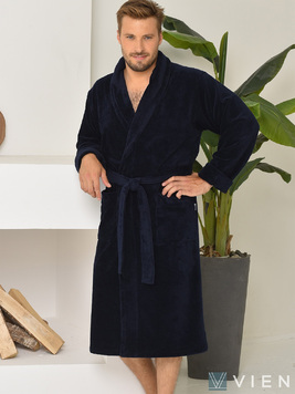 Длинный халат из бамбука 1097 Lord темно-синий Five wien