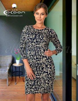 2e501da290a 11-6504 Цветы - трикотажное платье Cocoon рис.