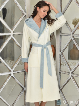 Женский бамбуковый халат с капюшоном 1100 Arianna Vien серо-голубой Wien