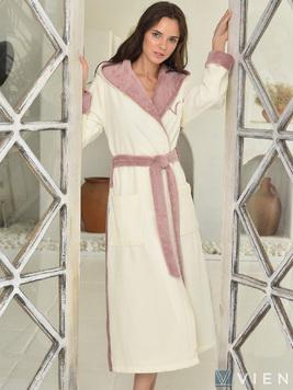 Женский бамбуковый халат с капюшоном 1100 Arianna Vien пудра Wien