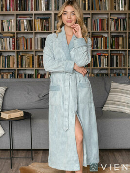 Женский длинный халат 1115 Anna голубой Wien