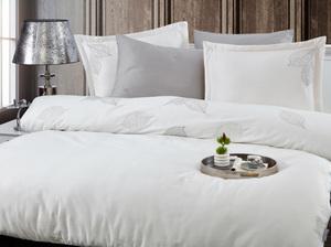 Сатиновое постельное белье с вышивкой 11428 Cinar светло-серый Doco