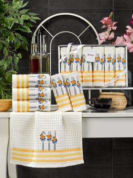 Комплект вафельных полотенец с вышивкой 35x45 (6 шт) 11467 Lux simona V2 Meteor