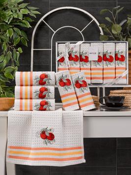 Комплект вафельных полотенец с вышивкой 35x45 (6 шт) 11467 Lux simona V3 Meteor
