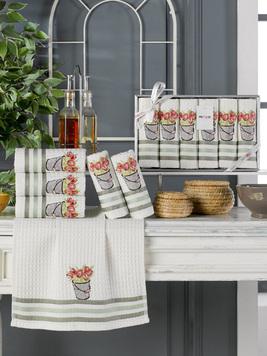 Комплект вафельных полотенец с вышивкой 35x45 (6 шт) 11467 Lux simona V5 Meteor