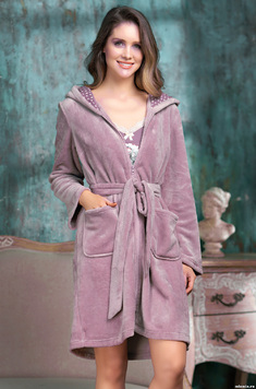 Пушистый халат на молнии 1607 Coffe Mia Amore