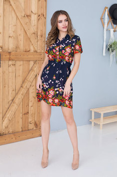 Короткое платье 16370 Nelly Цветы на синем Mia-Mia