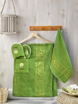 b185b0bdccb8 Мужской набор для сауны (килт, полотенце, тапочки) 339B в коробке Karven рис