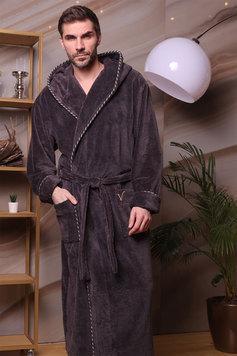 6c2fb6c499010 Мужской бамбуковый халат с капюшоном 587 Zevs антрацит Five wien рис.