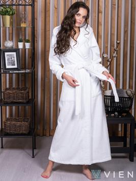 Длинный халат с капюшоном 696 Lady белый Wien