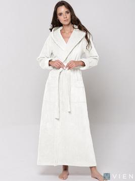 Женский длинный халат с капюшоном 696 Lady кремовый Wien