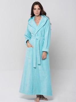 Женский длинный халат с капюшоном 696 Lady бирюзовый Wien