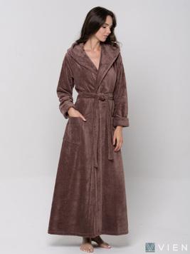 Женский длинный халат с капюшоном 696 Lady мокко Wien