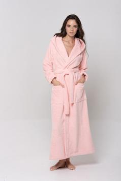 Женский длинный халат с капюшоном 696 Lady светло-розовый Wien