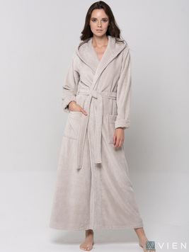 Длинный халат с капюшоном 696 Lady светло-бежевый Wien