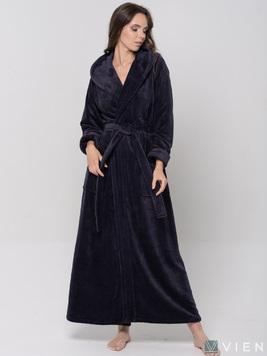 Женский длинный халат с капюшоном 696 Lady темно-фиолетовый Wien