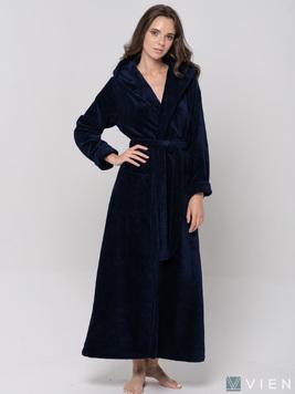 Женский длинный халат с капюшоном 696 Lady темно-синий Wien
