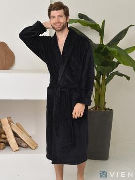 Мужской махровый халат 698 Prestige line черный Wien