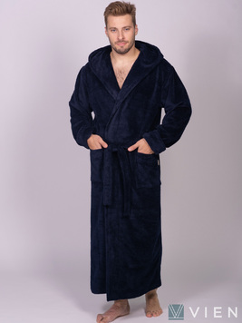 Мужской халат с капюшоном 702 Magistr темно-синий Wien