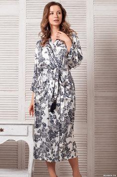 Длинный халат 8169 Paulina молочный Mia Amore