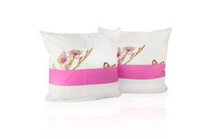 Комплект наволочек из бязи Бабочки-2 комби белый-розовый Elin