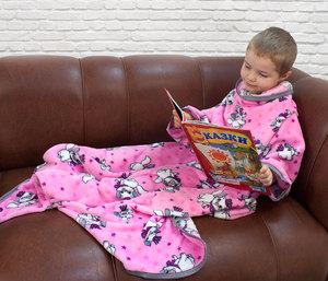 Детский плед с рукавами из экстрасофта Люкс Кошки розовый с серым кантом Elin