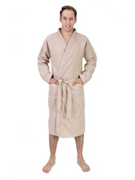 Вафельный мужской халат бежевый Elintale