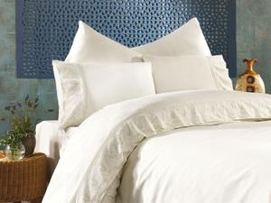 Сатиновое постельное белье с вышивкой Katya кремовый Grazie Home