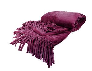 Плед из велсофта с бахромой фиолетовый Nappa Soft Tivolio