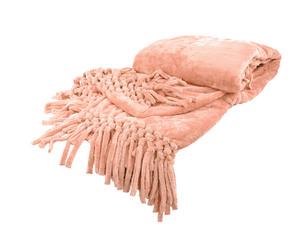 Плед из велсофта с бахромой персиковый Nappa Soft Tivolio