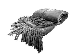 Плед из велсофта с бахромой серый Nappa Soft Tivolio