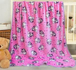 Плед в кроватку из экстрасофта Люкс Кошки розовый с бежевым кантом Elin