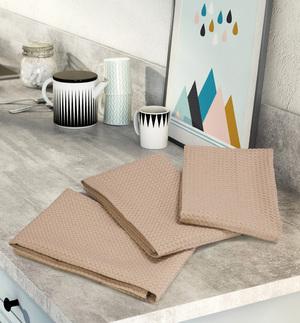 Комплект вафельных полотенец (3 шт) темно-бежевый Elin