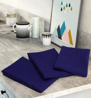 Комплект вафельных полотенец (3 шт) темно-синий Elin