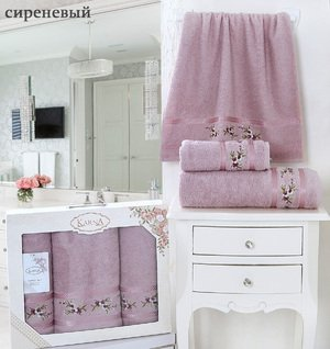 Комплект полотенец Monica 3шт (50x90 2шт, 70x140) Karna